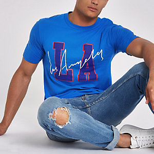 Blue 'LA' short sleeve T-shirt