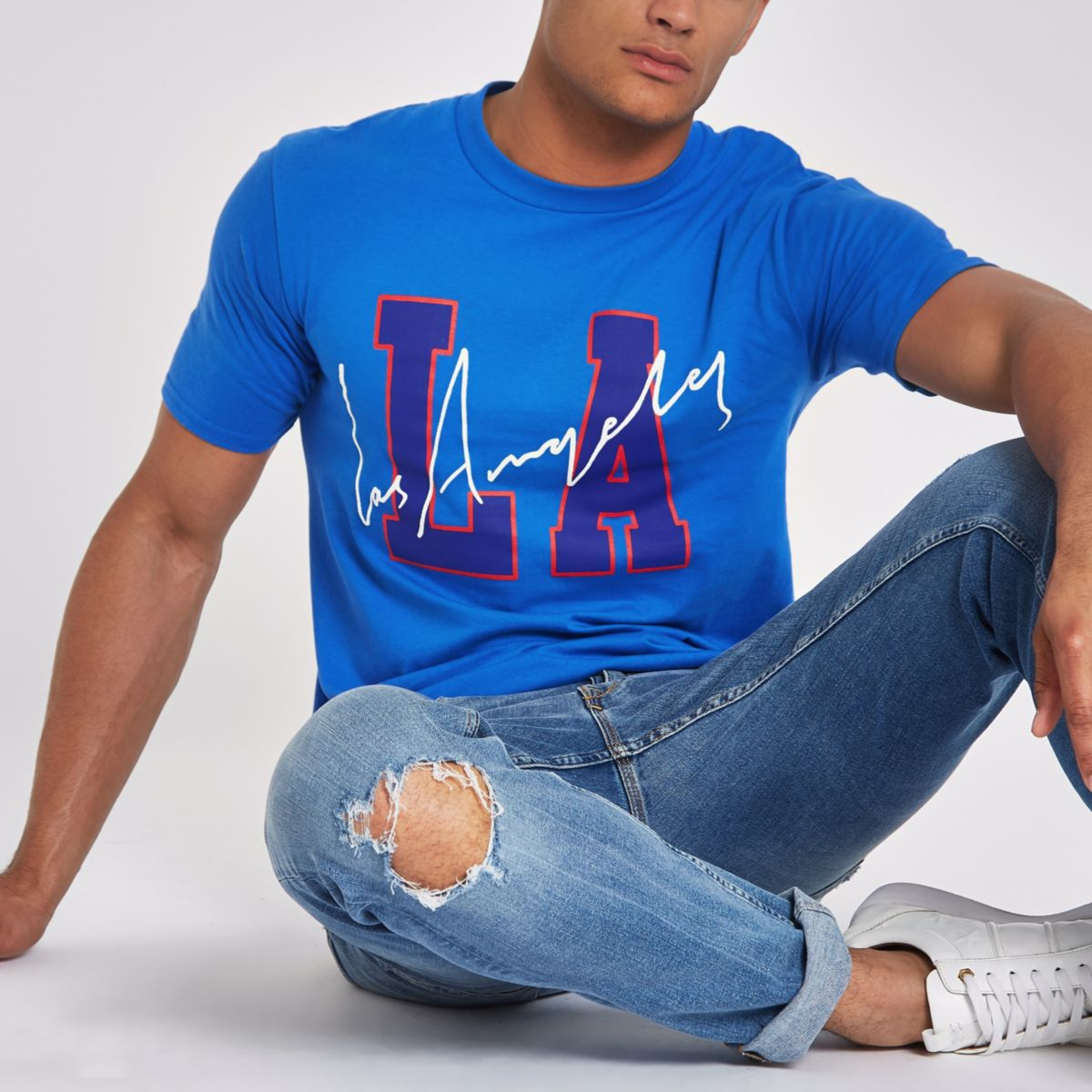 Blue 'LA' short sleeve T-shirt