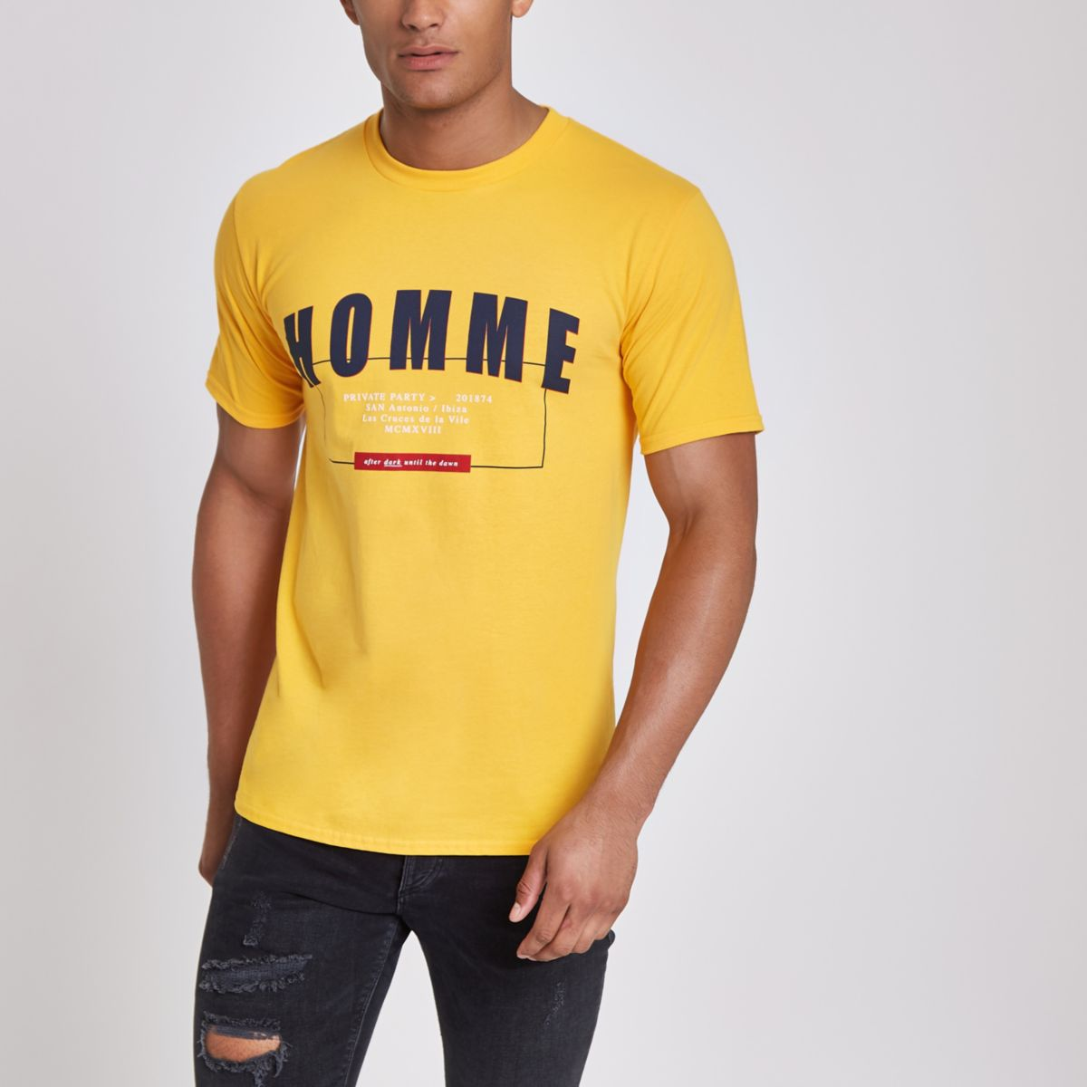 Yellow 'homme' short sleeve T-shirt