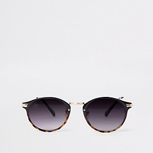 Brown tortoiseshell gold round sunglasses