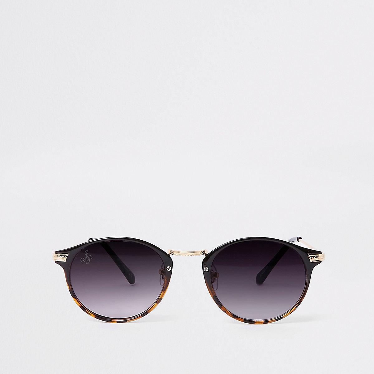 Brown tortoiseshell gold round sunglasses