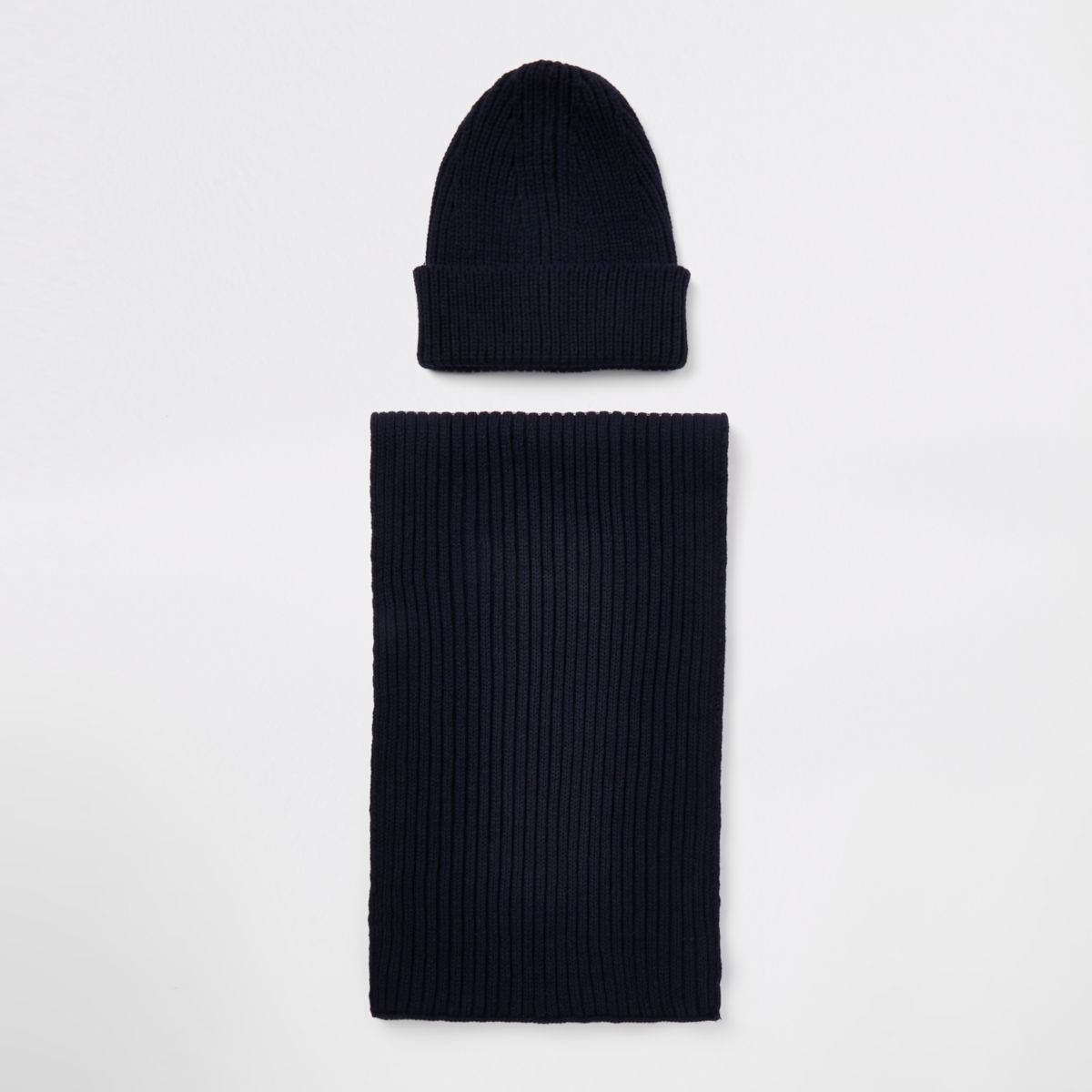 Navy ribbed beanie hat and scarf set