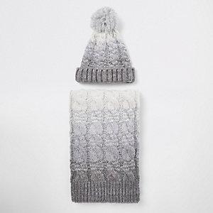 Ensemble bonnet et écharpe gris dégradé côtelés