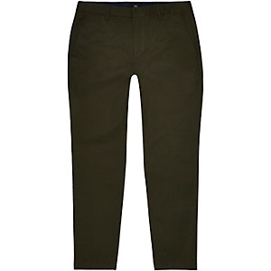 Dark green skinny chino trousers