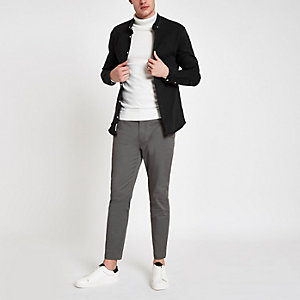 Sid - Donkergrijze skinny enkellange broek
