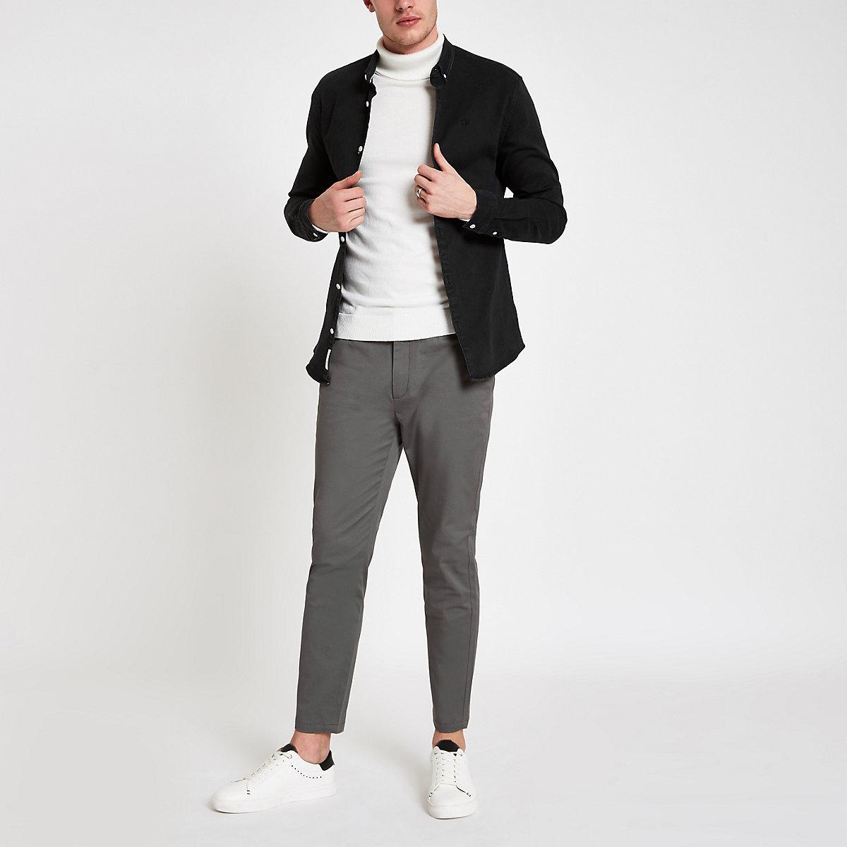 Dark grey Sid skinny ankle grazer trousers