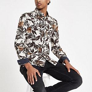 Ecru floral print long sleeve button-up shirt