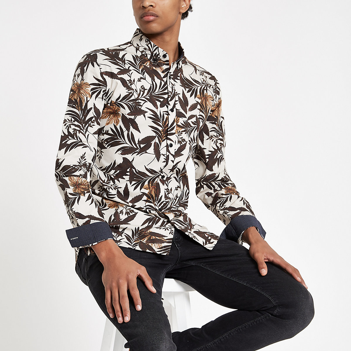 Ecru floral print long sleeve shirt