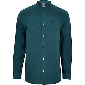 Teal wasp embroidered grandad Oxford shirt