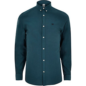 Teal wasp embroidered button-up Oxford shirt