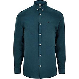 Chemise Oxford bleu sarcelle à broderie guêpe