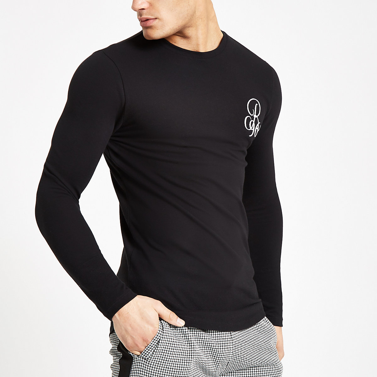 Black muscle fit 'R96' long sleeve T-shirt