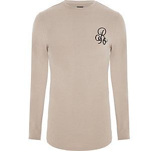 T-shirt « R96 » ajusté grège à manches longues