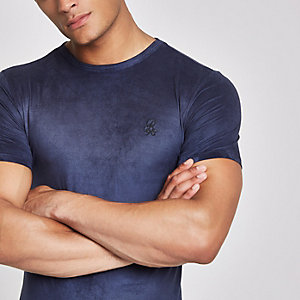 R96 – Marineblaues Muscle Fit T-Shirt aus Wildleder