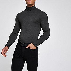 Graues Muscle Fit T-Shirt mit Rollkragen