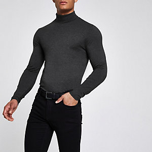 Grey roll neck muscle fit top
