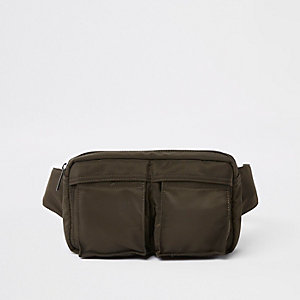 Khaki green two pocket cross body bag