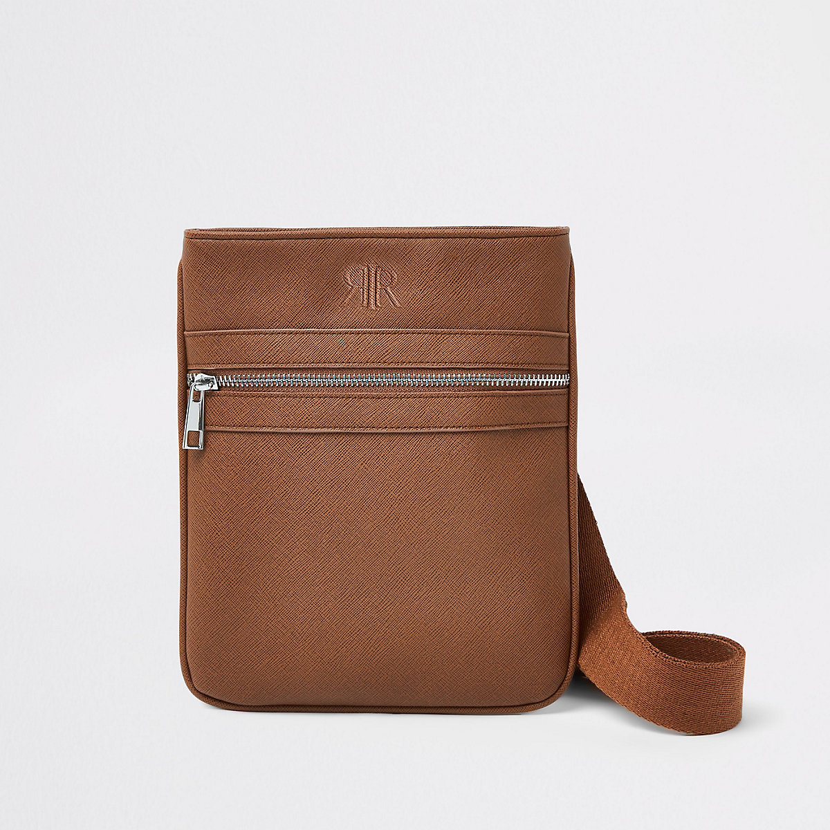 Brown flight cross body pouch
