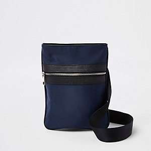 Navy nylon cross body bag