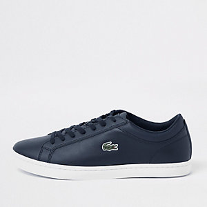 Lacoste navy leather lace-up trainers