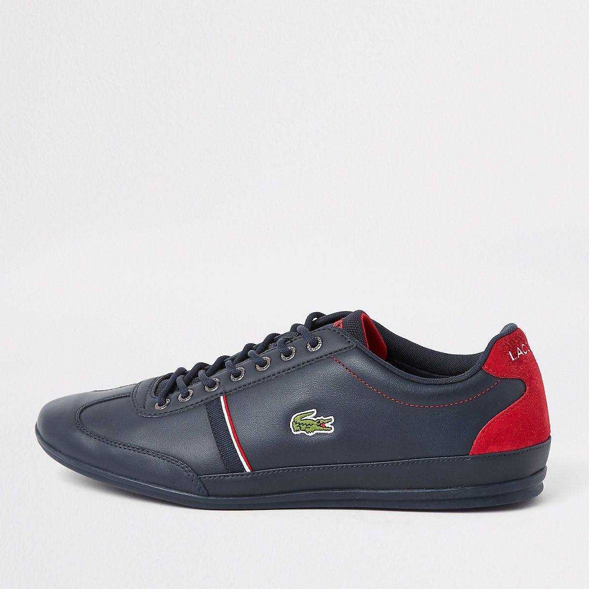 Lacoste navy leather tape lace-up trainers