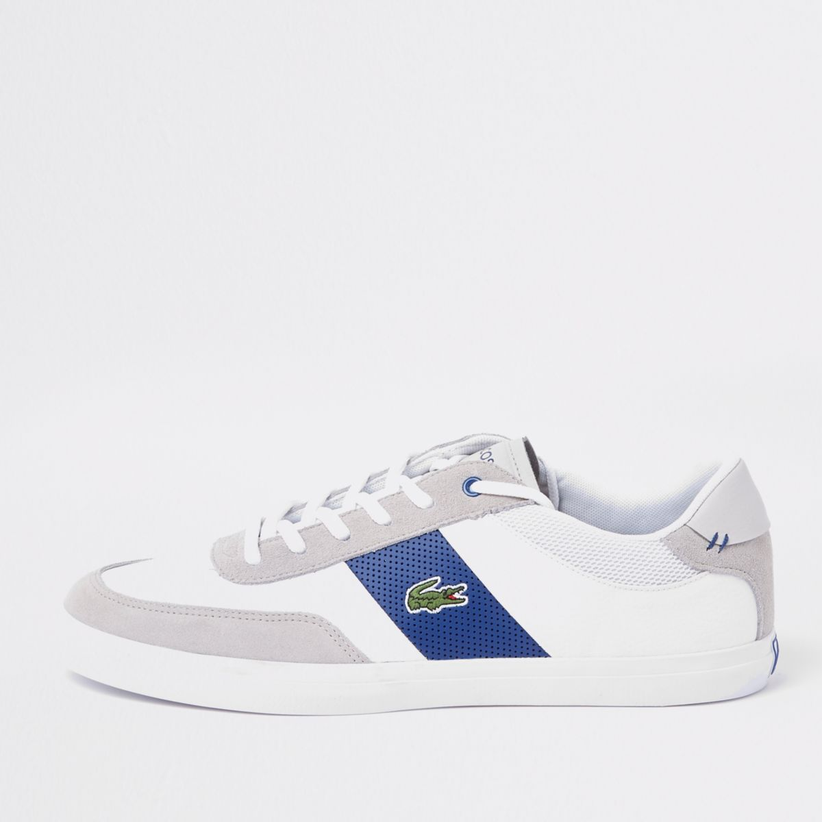 Lacoste grey court lace-up trainers