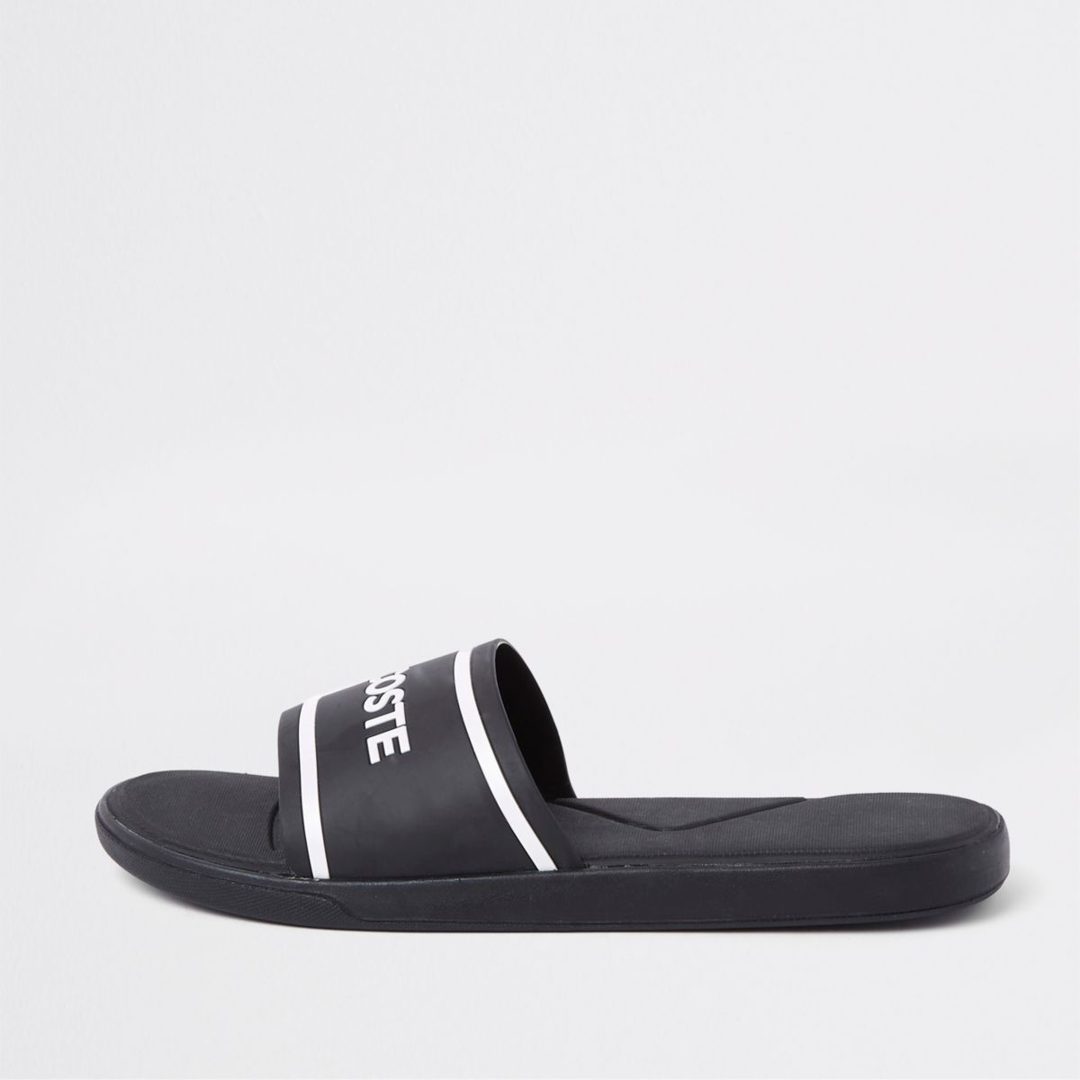 Lacoste black quilted sliders