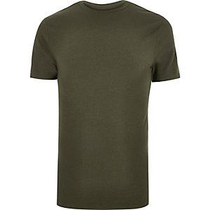 Big & Tall khaki green muscle fit T-shirt