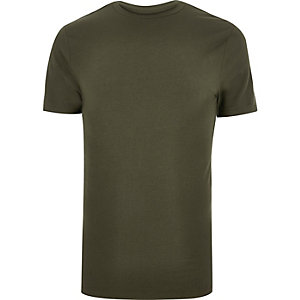 Big & Tall khaki green muscle fit T-shirt