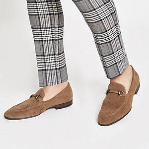 Bruine loafers van imitatiesuède