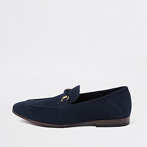Marineblaue Loafer aus Wildlederimitat