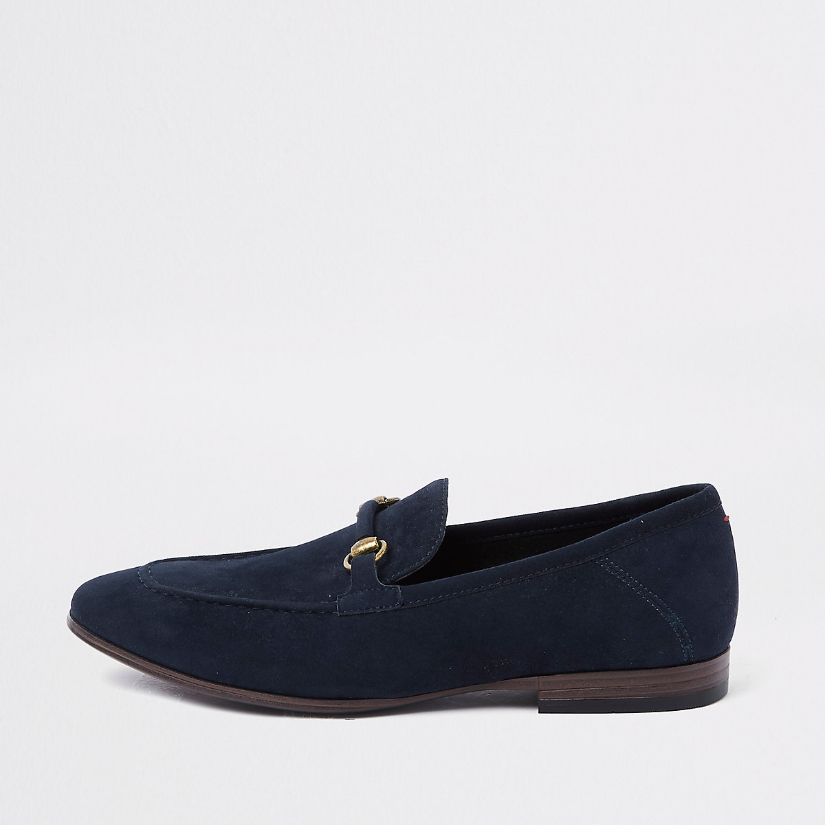 Navy faux suede snaffle loafer