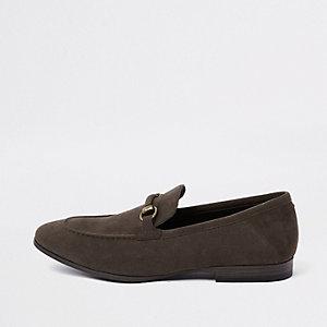 Dark brown faux suede snaffle loafer