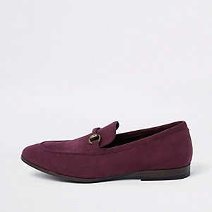 Dark red faux suede loafer