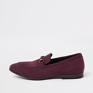 Donkerrode loafers van imitatiesuède