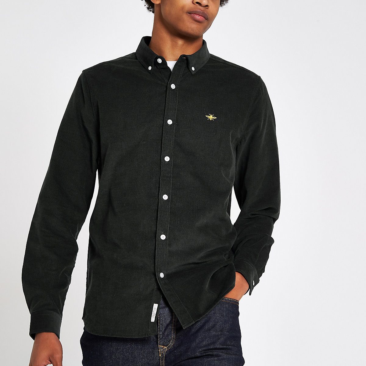 Dark green cord long sleeve button-down shirt