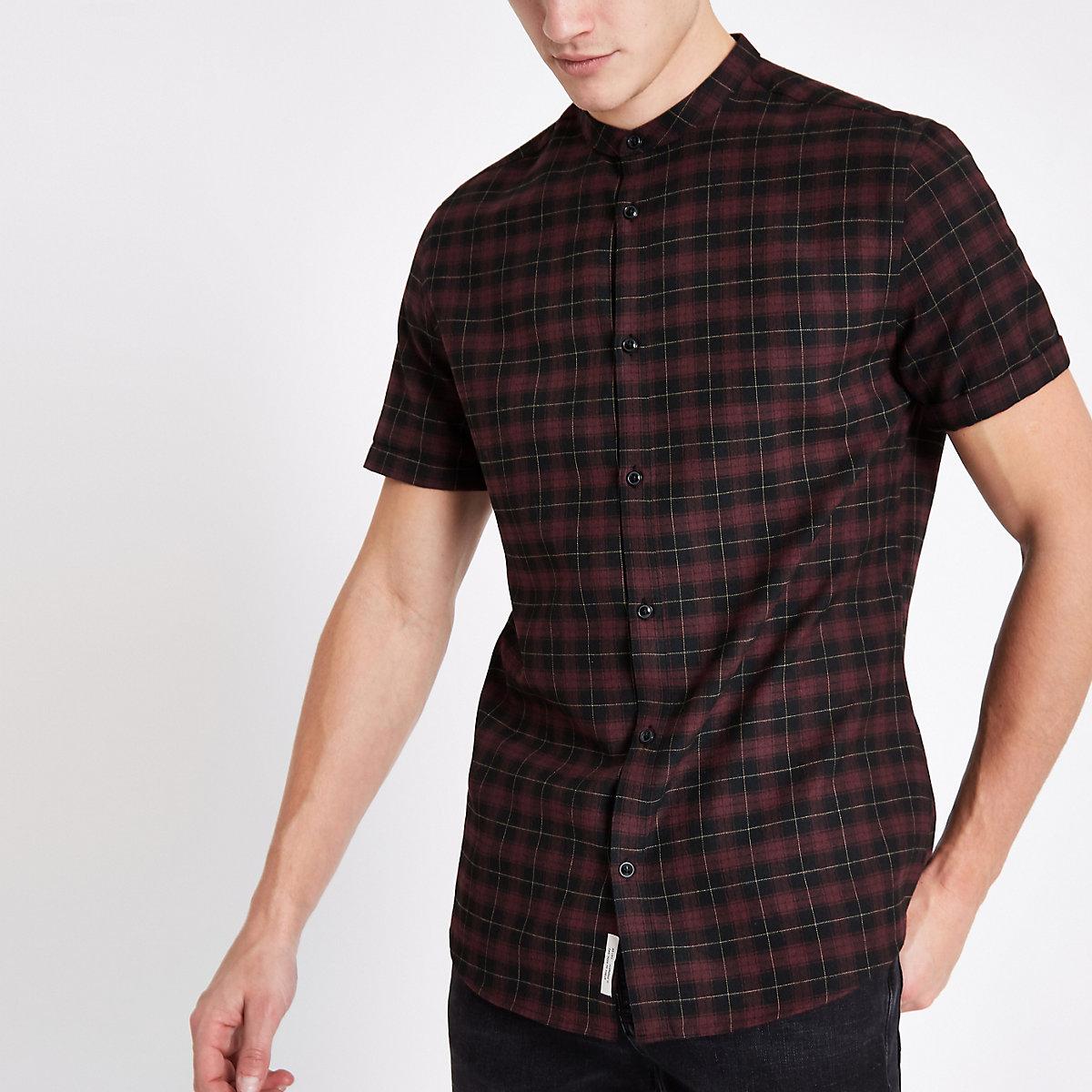 Dark red check grandad collar shirt