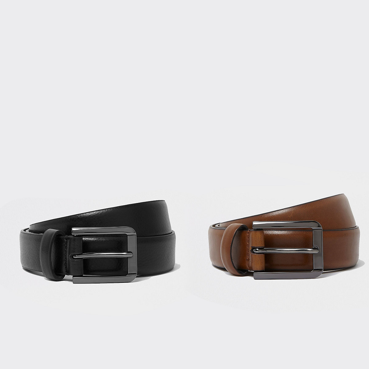 Black and brown leather belt multipack