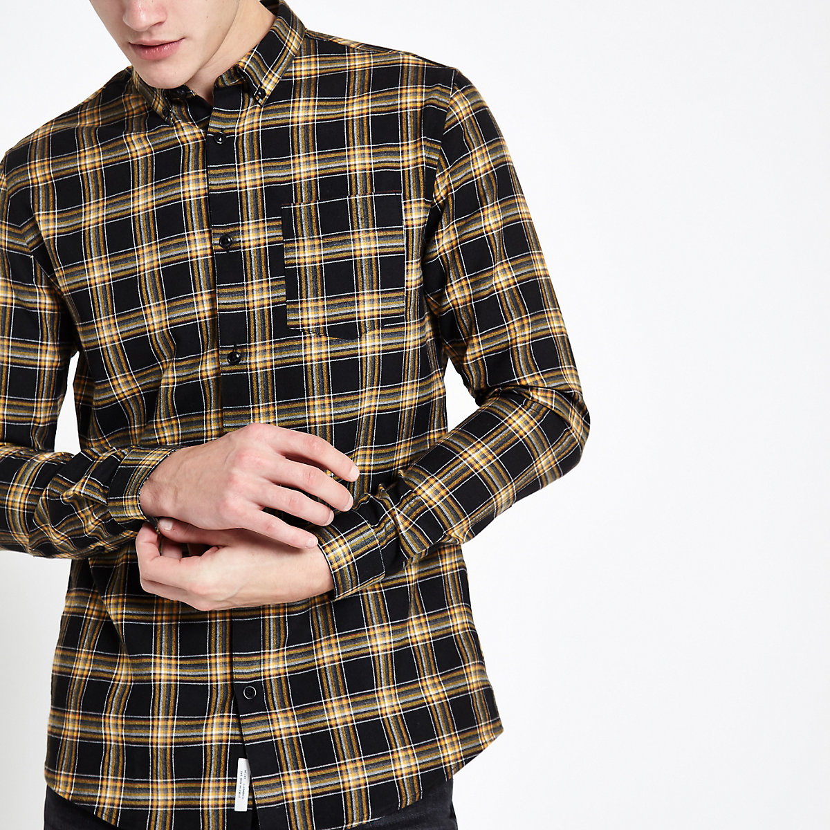 Black and yellow check button-down shirt