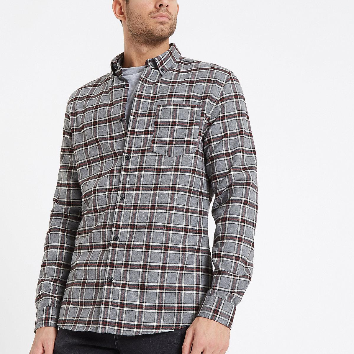 Grey and black check button-down shirt