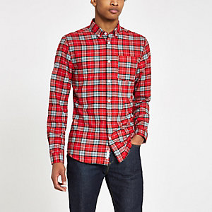 Red and blue check button-down shirt