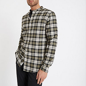 Khaki check grandad collar shirt