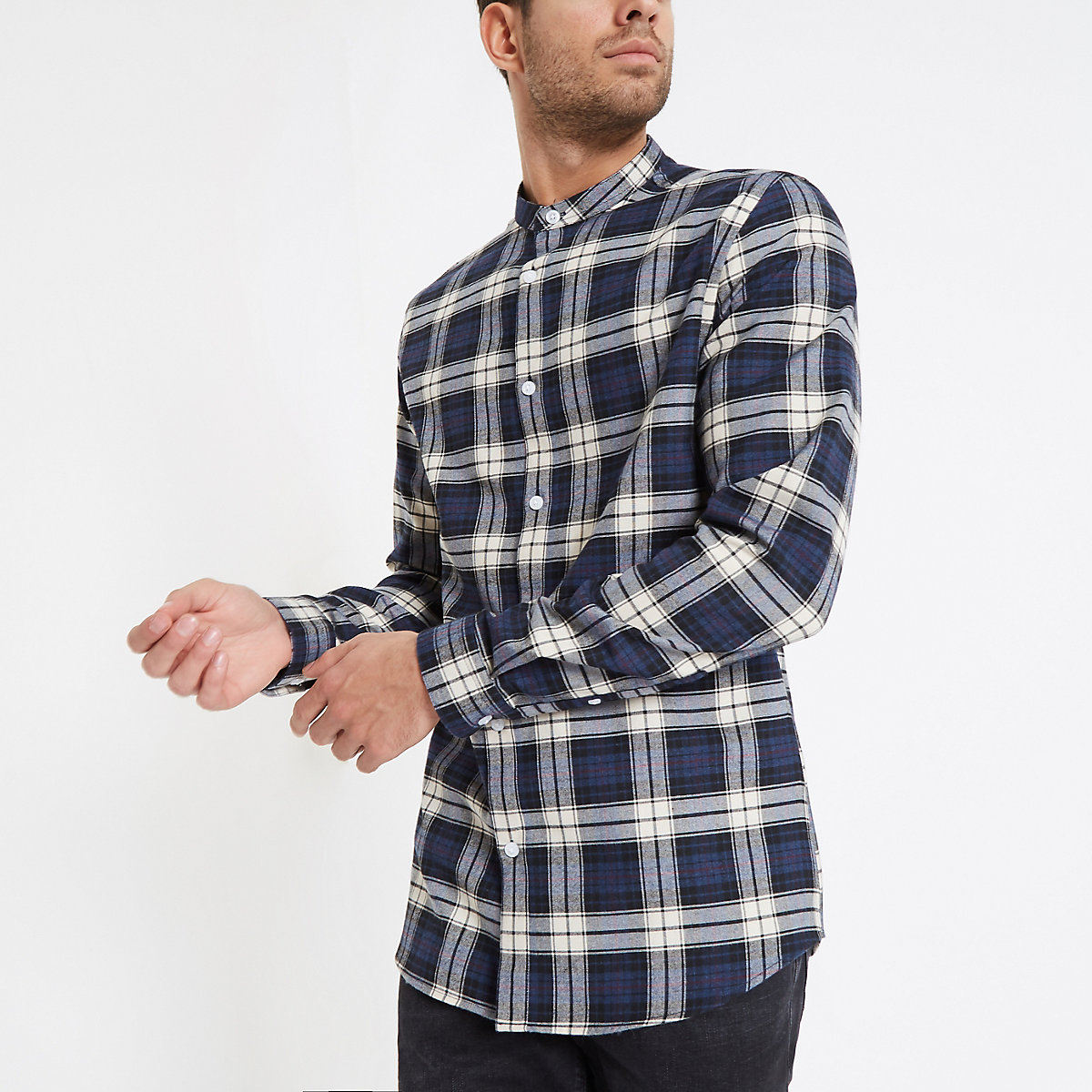 Blue check grandad collar shirt
