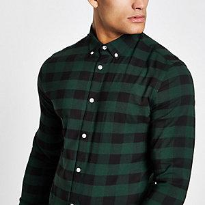 Chemise ajustée à carreaux verte à manches longues
