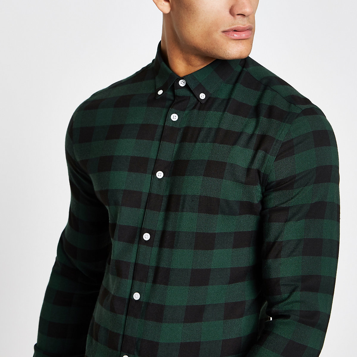 Green check muscle fit long sleeve shirt