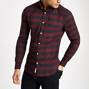 Dark red check muscle fit long sleeve shirt