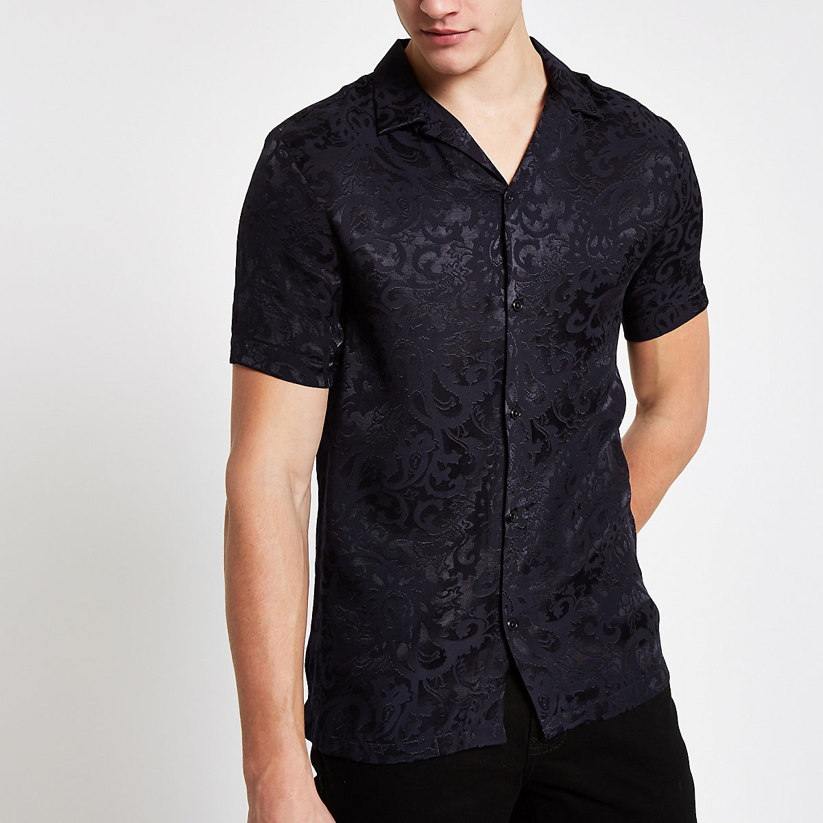 Navy jacquard revere shirt