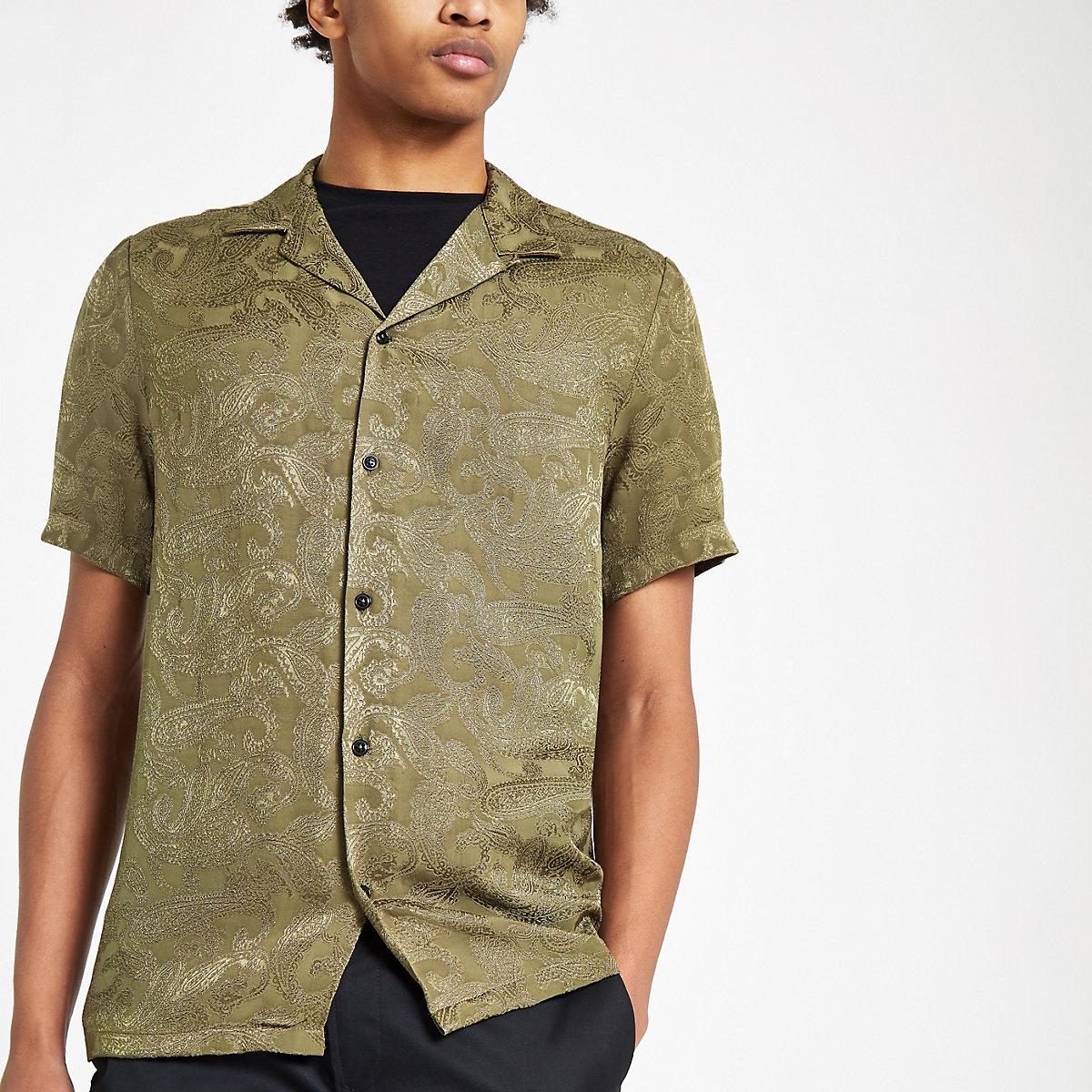 Khaki jacquard revere shirt