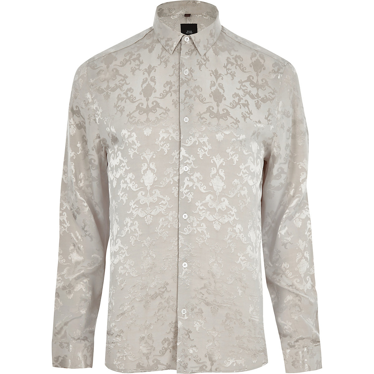 Ecru jacquard long sleeve shirt
