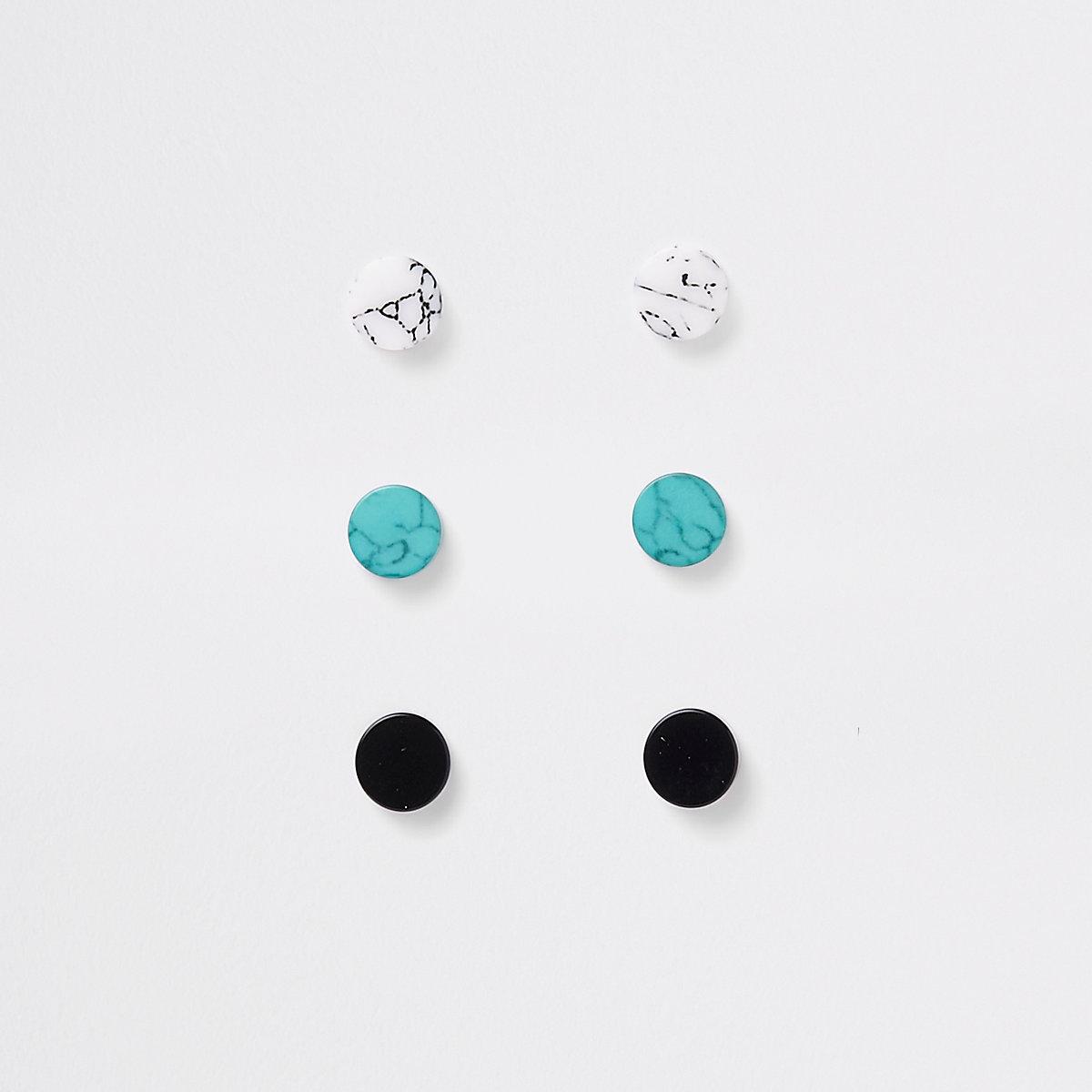 Green marble plug earrings multipack